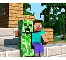 Steve and Creeper - Minecraft Photographic Print