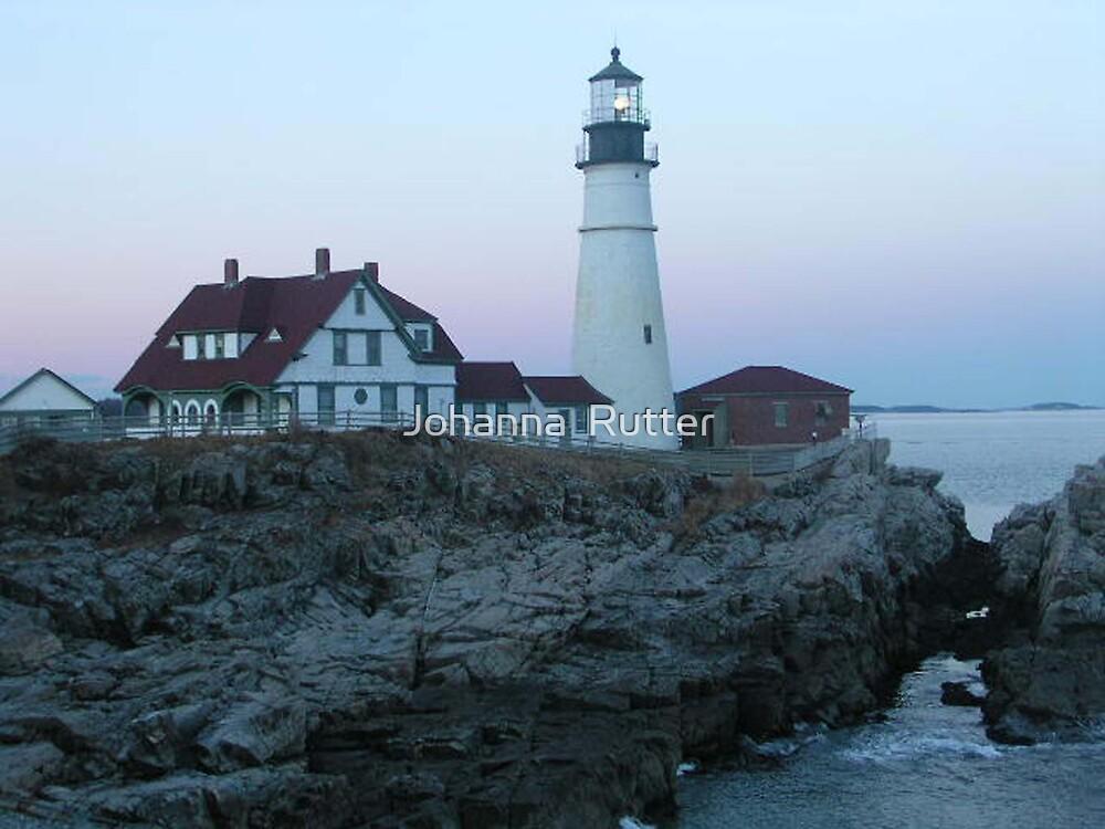 Portland headight Maine in the evening by Johanna  Rutter
