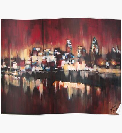 Red Sky Over London Poster