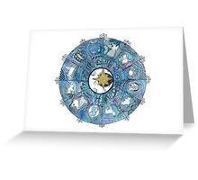Watercolor Zentangle Zodiac Chart Greeting Card