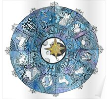 Watercolor Zentangle Zodiac Chart Poster