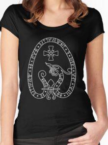 Viking Rune Stone (Dark bg, white lines) Women's Fitted Scoop T-Shirt