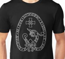 Viking Rune Stone (Dark bg, white lines) Unisex T-Shirt
