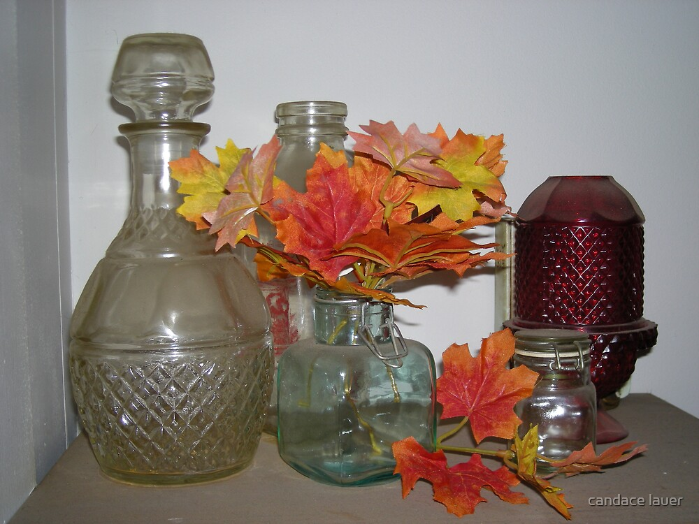 antiqued glass garden - fall  by candace lauer