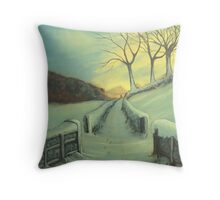 Heading Home - A warming winter scene, of a winter walk home after a lovely day out walking your dog.  Throw Pillow