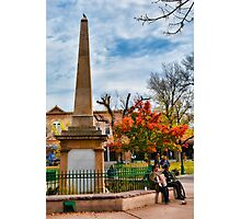 Santa Fe Obelisk a Pigeon and an Accordian Player Photographic Print