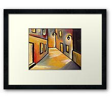 Street at night (from my original acrylic painting) Framed Print