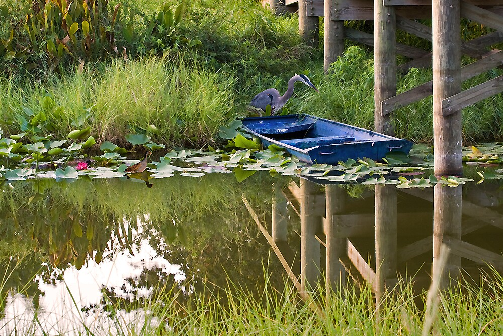 Blue Heron With Empty Boat by Delores Knowles