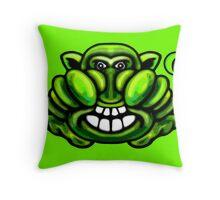 Green Gremlin Monster  Throw Pillow