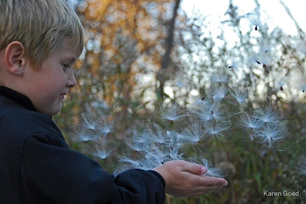 Milkweed seeds in the wind by Karen Goad