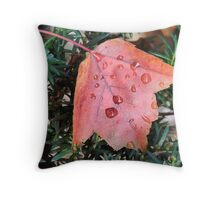 Wet maple Leaf Throw Pillow