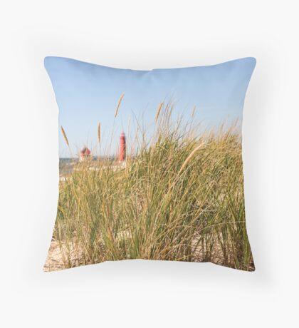 Dune Grass and Lighthouse Throw Pillow