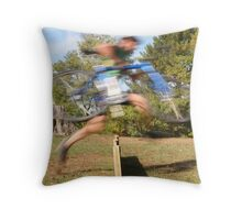 Running The Barriers Throw Pillow