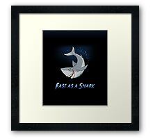 Fast As A Shark - Cartoon Illustration Framed Print