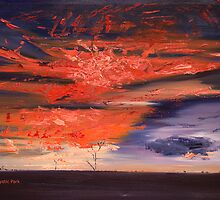 Oil Mystic Park: Blazing Sunset by caroline ellis