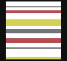 Red, yellow, grey pastel, stripes Kids Tee