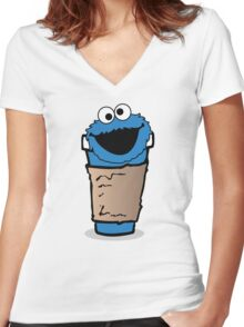 COFFEE MONSTER.  Women's Fitted V-Neck T-Shirt