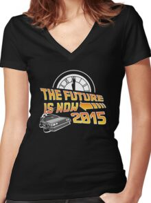 The Future is Now (Back to the Future) Women's Fitted V-Neck T-Shirt