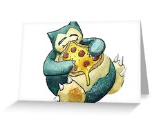 Pokemon pizza party- Snorlax Greeting Card
