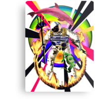 Zandozan Jumps the Flaming Hoop in the Rays of Neptune with a Boom Box and a Pink Dolphin Metal Print