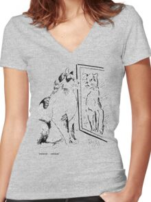 MIRROR-MIRROR Women's Fitted V-Neck T-Shirt