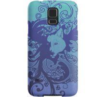 Wolf Floral in Blue Samsung Galaxy Case/Skin