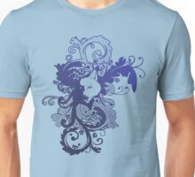 Wolf Floral in Blue Unisex T-Shirt