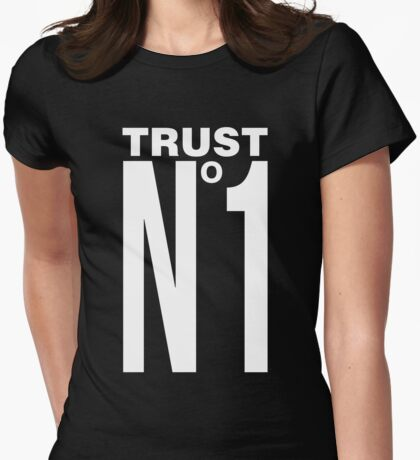 TRUST NO ONE - version 2 - white Womens Fitted T-Shirt
