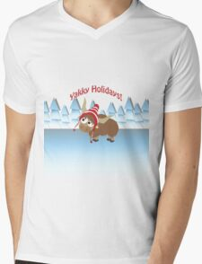 Yakky Holidays! Winter Scene Mens V-Neck T-Shirt