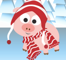 Happy Holidays! Winter Pig Sticker