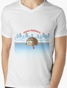 Happy Holidays! Winter Hedgehog Mens V-Neck T-Shirt