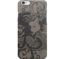 Wolf Floral in Grey iPhone Case/Skin