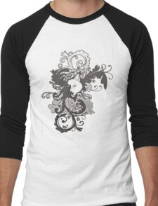 Wolf Floral in Grey Men's Baseball ¾ T-Shirt