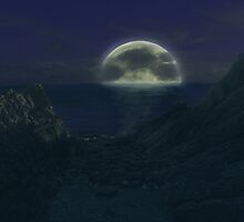 Dark sea moon by moseszap