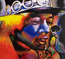 Jimi Hendrix acrylic painting by Nathan Howell