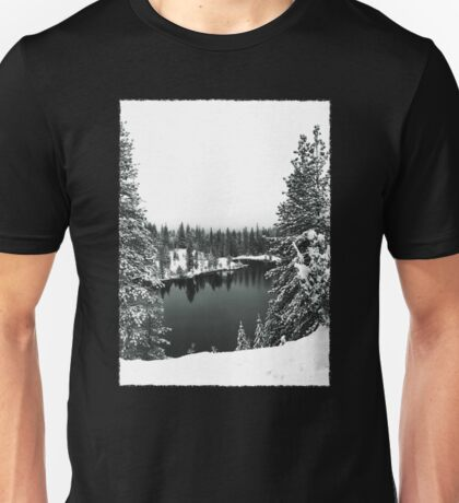 A Snowy Lake in Black and White Unisex T-Shirt