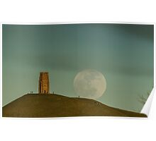 Moon of Winds rising over Glastonbury Poster