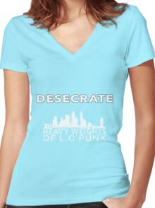 Desecrate - Lion city Women's Fitted V-Neck T-Shirt
