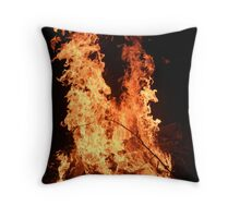 Flaming Wolf Throw Pillow