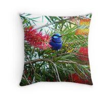 Blue Wren Merry Christmas Throw Pillow