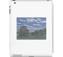 Unique Etched Texture Style Tree Filled Landscape and Clouds iPad Case/Skin