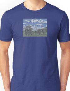 Unique Etched Texture Style Tree Filled Landscape and Clouds Unisex T-Shirt