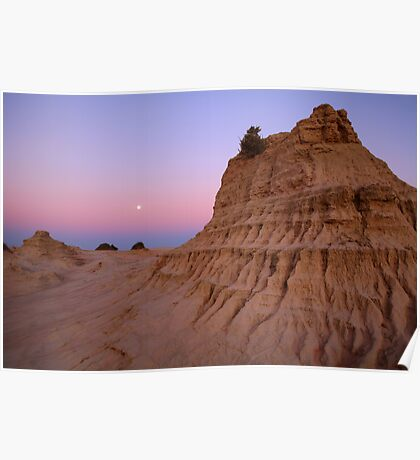 """Moonrise over the """"Walls Of China"""", Mungo National Park, Australia Poster"""