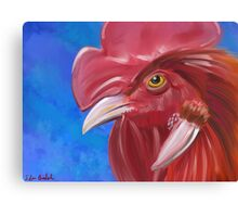 Here Comes the Rooster - Digital Paint of a Red Rooster Canvas Print