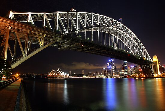 Sydney Harbour Bridge at Night, Australia by Michael Boniwell