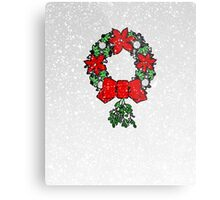 Tri Christmas Wreath Metal Print