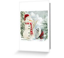 Snowdrop the Maltese & The Jolly Snowman Greeting Card