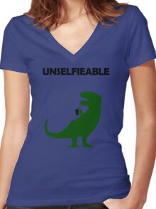 Unselfieable T-Rex Women's Fitted V-Neck T-Shirt