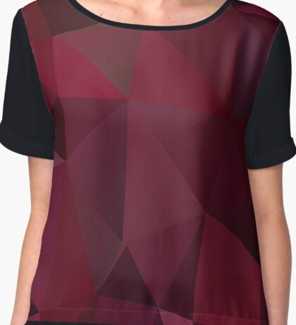 Abstract print geometrical pattern of triangles polygon. Fabric design in marsala red colors Chiffon Top