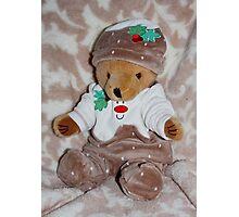 Christmas Pudding Teddy Photographic Print